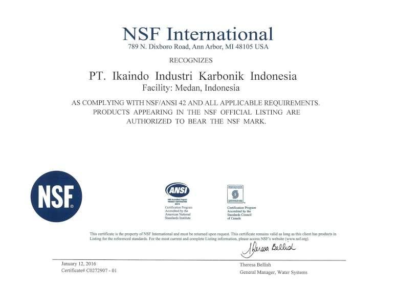 NSF 42材料認證