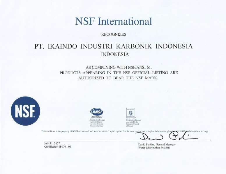 NSF 61材料認證